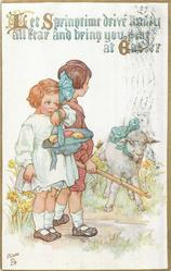 LET SPRINGTIME DRIVE AWAY ALL FEAR AND BRING YOU PEACE AT EASTER worried girl holds hat with 2 eggs in it, boy & lamb behind