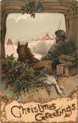 CHRISTMAS GREETINGS  man drives cart laden with Xmas hampers, goose & Xmas tree along snowy lane
