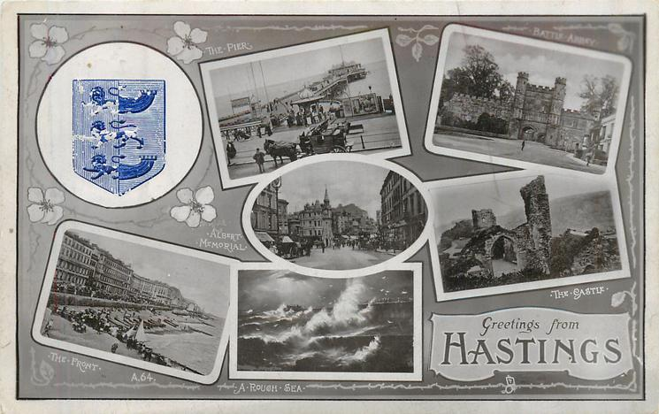 embossed crest, 7 insets THE PIER/BATTLE ABBEY/ALBERT MEMORIAL/THE CASTLE/THE FRONT/A ROUGH SEA