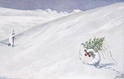 personised polar bear carrying xmas tree, another approaches carrying glass of wine