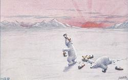 personised polar bear on hindlegs drinking from bottle, another passed out on snow, bottles around