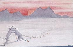 2 personised polar bears on hindlegs caress whilst drinking from glasses, wires around, bottle on snow