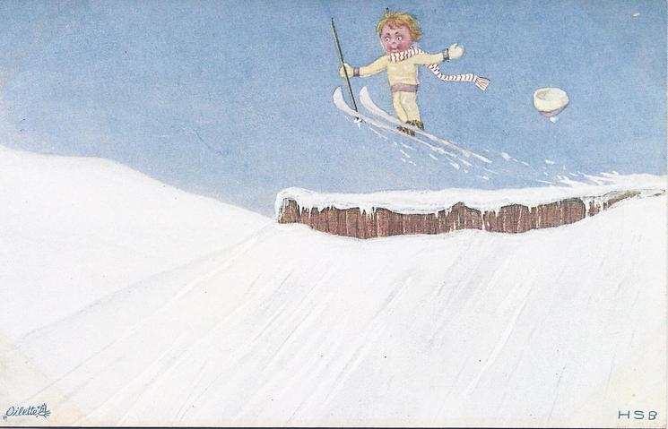 small girl flies through the air after a jump on her skis, an immensity of snow