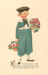 KIND THOUGHTS AND FRIENDLY GREETINGS FOR ST. VALENTINE'S DAY  boy in green outfit carrying red roses