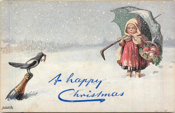 girl with umbrella, magpie perched on champagne bottle, snow scene