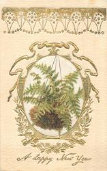 A HAPPY NEW YEAR, silk centre panel, hanging basket of ferns