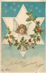 A HAPPY CHRISTMAS TO YOU  angels head in star, looking down right, holly around, three bells below