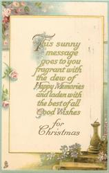 GOOD WISHES FOR CHRISTMAS, pink roses left sundial right