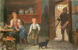 DER ESSENKEHRER  man come through dorway with sticks & ladder, mother & 2 children  inside