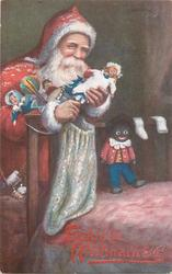 Santa in red robe and hood takes doll out of sack, golliwogg on end of bed