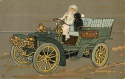 lady and dog in front seat of car