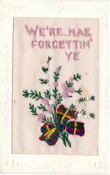 WE'RE NAE FORGETTIN' YE, heather & tartan