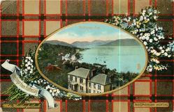 ROTHESAY BAY oval inset of bay over white heather & tartan
