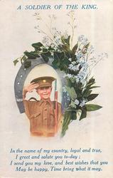 A SOLDIER OF THE KING boy with rifle in tan uniform salutes, framed by a horseshoe donned with ivy & forget-me nots