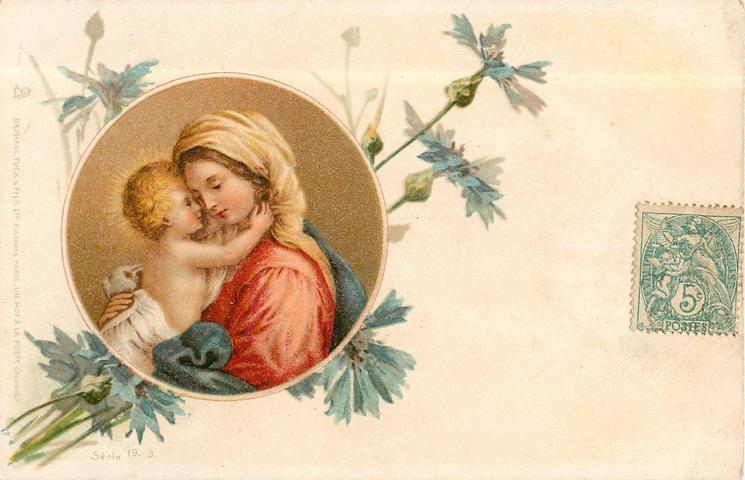 inset: Madonna right with Child on lap, he climbs so that faces are very close, blue cornflowers