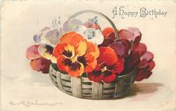 purple/violet, red and orange (with purple centres) pansies in lattice basket