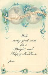 WITH EVERY GOOD WISH FOR A BRIGHT AND HAPPY NEW YEAR  two globes