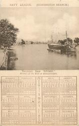 "TRAINING SHIP ""STORK"" MOORED OFF THE MALL AT HAMMERSMITH, 1921 calendar"