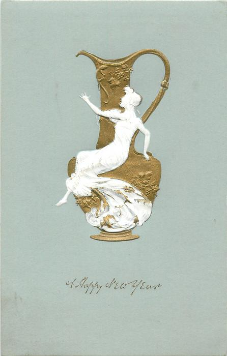 A HAPPY NEW YEAR small lady in white seated on front of large gilt vase
