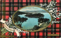GREETINGS FROM LOCH KATRINE, ELLEN'S ISLE   ROYAL STEWART tartan