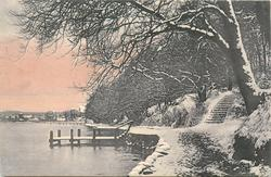 river left, steps down to water, wooden dock, snow scene