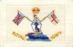 ROYAL NAVY  crown, warfship & flags, Union Jack & White Ensign