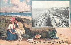 inset BLACKPOOL. THE NORTH PROMENADE  couple sit close on rocks, she wears a white top with red hat & tie, looks front