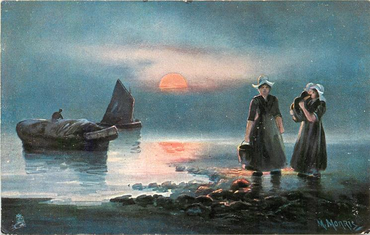 Dutch ocean landing scene, two women ashore right, one carrying child, two  boats left