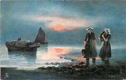 Dutch ocean landing scene, two women ashore right, one carrying child, two  boats left