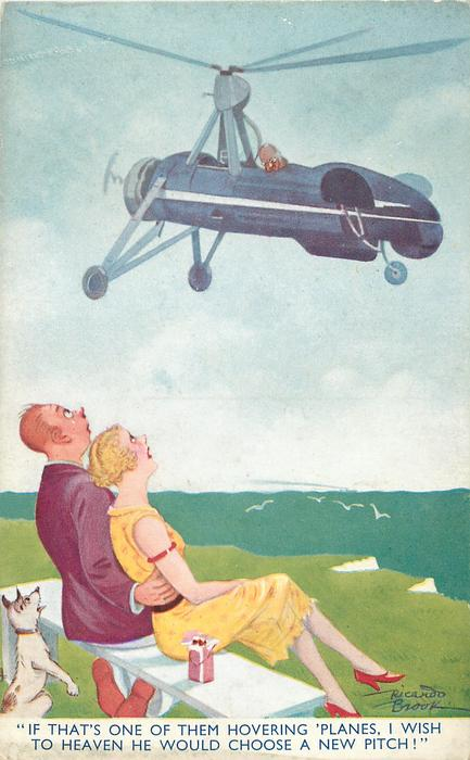 """""""IF THAT'S ONE OF THEM HOVERING 'PLANES, I WISH TO HEAVEN HE WOULD CHOOSE A NEW PITCH!"""""""
