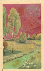 very shiny, metallic painted card with red sky, silver birch and greenish water
