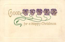 GOOD WISHES FOR A HAPPY CHRISTMAS in gilt, purple pansies behind each letter of WISHES