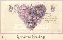 CHRISTMAS GREETINGS  heart composed of violets