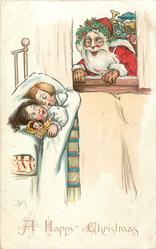 A HAPPY CHRISTMAS  at bottom, Santa looks through window at two sleeping children