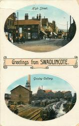 GREETINGS FROM SWADLINCOTE, 2 insets HIGH STREET and GRESLEY COLLIERY