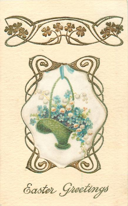 A HAPPY EASTER  blue forget-me-nots & pink flowers