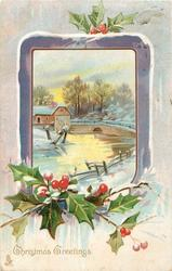 CHRISTMAS GREETINGS  purple edged inset of winter scene, bridge over river, houses behind, holly below