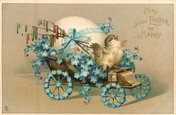 MAY YOUR EASTER BE HAPPY  chick drives forget-me-not covered egg-cart right