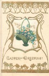 EASTER GREETING  art nouveau design surrounding basket of forget-me-nots & lilies-of-the-valley, silk inset
