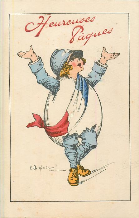 HEUREUSES PAQUES in red, uniformed French girl walks & waves wearing fantasy egg & French flag