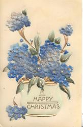 A HAPPY CHRISTMAS, pot of blue forget-me-nots