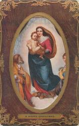 A HAPPY CHRISTMAS  Madonna stands with Child