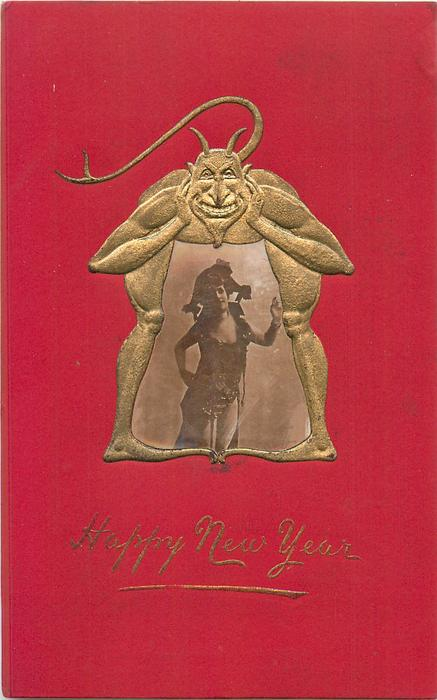 HAPPY NEW YEAR  pretty girl inset into gilt devil