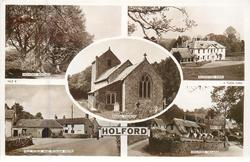 5 insets HOLFORD BEECHES/ALFOXTON PARK/PARISH CHURCH/OLD FORGE AND PLOUGH HOTEL/HOLFORD VILLAGE