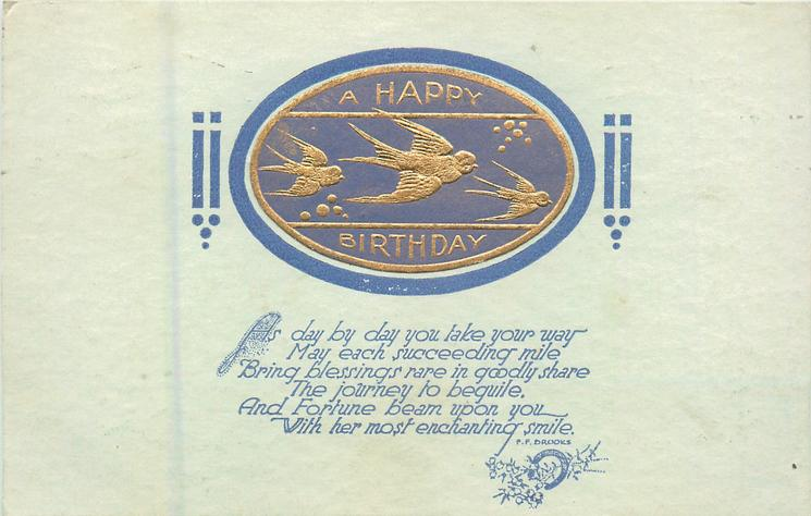 LOVING BIRTHDAY GREETINGS, birds of happiness fly right on oval gilt plaque