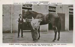 "ROBERT WOOD SHOEING E.S. TATTERSALL'S ""HURDTWOOD"" WINNER OF THE NEWMARKET STAKES. 1924. TRAINER, A. TAYLOR, MANTON"