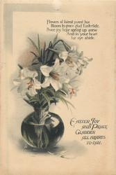 EASTER JOY AND PEACE GLADDEN ALL HEARTS TO-DAY glass vase of Easter lilies