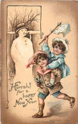 HURRAH! FOR A HAPPY NEW YEAR  young boy carries girl piggy-back past snowman