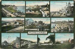 10 insets THE WEST END/GENERAL VIWEW , WEST END/THE TOWER AND PROMENADE/ GENERAL VIEW, WEST END/THE BANDSTAND & GARDENS, WEST END/THE SANDS/THE WESTEND/ HEYSHAM  VILLAGE/HEYSHAM CHURCH/IRVING TERRACE AND GARDENS, WEST END