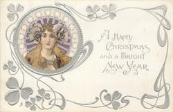 A HAPPY CHRISTMAS AND A BRIGHT NEW YEAR  head upper left, white stars around head, large flowers over each ear, she faces front